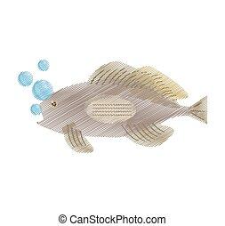 vie, mérou, fish, main, mer, bulles, vue, dessin, côté