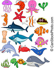 vie mer, dessin animé, ensemble