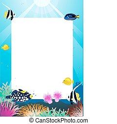 vie mer, dessin animé, et, espace vide