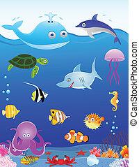 vie mer, dessin animé, fond
