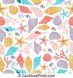 vie mer, etoile mer, seamless, modèle, coquille