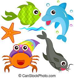 vie, mer, fish, vecteur, icons:, animal