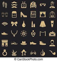 vie, mode, icônes, ensemble, style, simple