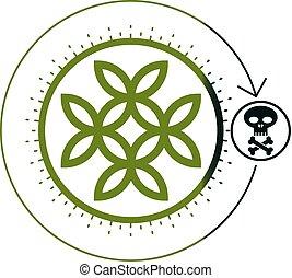 vie, mort, crâne, symbole, symbole., combined., conceptuel, vecteur, fleur, os, unique, logo
