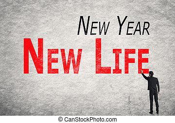 vie, mur, écrire, mots, année, nouveau