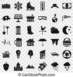 vie, nature, ensemble, icônes, style, simple