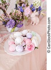 vie, oeufs, -, fleurs, lapin, encore, paques