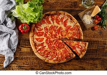 vie, pizza, margarita, table., bois, ingredients., encore