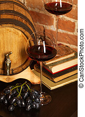 vie, retro, baril, encore, vin rouge