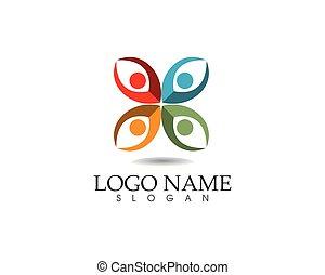 vie, reussite, icônes, gens, communauté, santé, gabarit, logo, soin