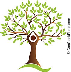 vie, sain, symbole, arbre, vecteur, humain