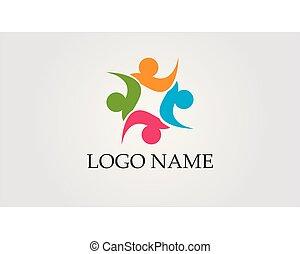 vie, sain, vecteur, gabarit, logo, icône