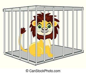 vie sauvage, clapier, lion, fer, dessin animé