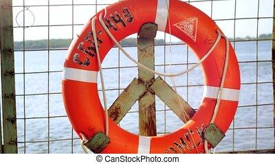 vie, sauveteur, pont, grand, .orange, ship., 3840x2160, voyager, croisière, island., anneau, bateau, bouée