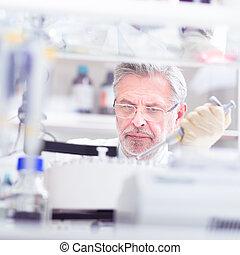 vie, scientifique, laboratory., rechercher