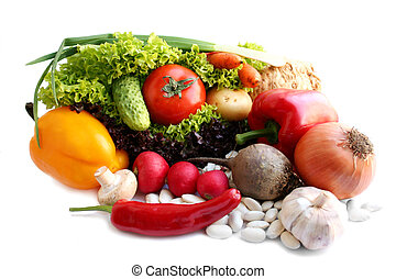 vie, sur, -, fond, blanc, encore, légumes