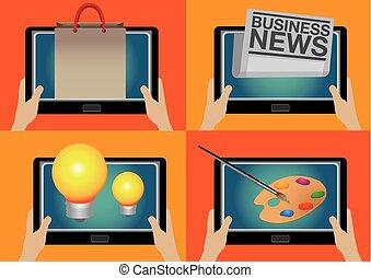 vie, tablette, moderne, informatique, technologie numérique