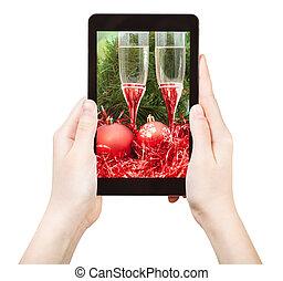 vie, tablette, photo, pc, prendre, encore, noël, rouges