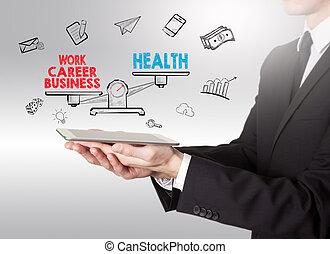 vie, tablette, travail, jeune, équilibre, informatique, santé, tenue, homme