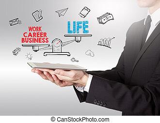 vie, tablette, travail, jeune, équilibre, informatique, tenue, homme