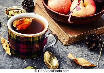 vie, thé, tasses, automne, encore