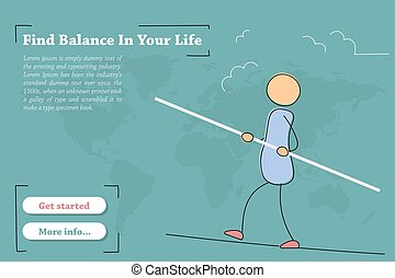 vie, -, ton, équilibre, bannière, trouver