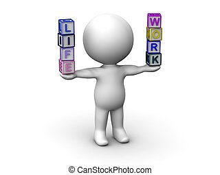 vie, travail, équilibrage, lett, 3d, homme