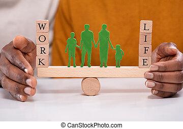 vie, travail, personne, bascule, protéger, équilibre