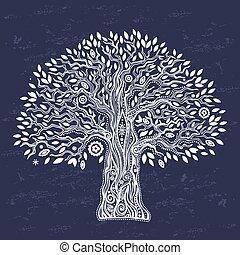 vie, unique, arbre, ethnique