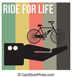 vie, vélo, bannière, format, cavalcade, vecteur