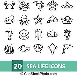 vie, vecteur, mer, collection, icônes