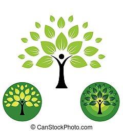 vie, vector., gens, résumé, arbre, humain, logo, icône