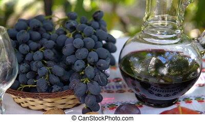 vie, verre vin, encore, raisins