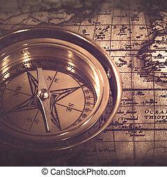 vie, vieux, sur, compas, carte, retro, nautique, encore, résumé