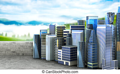 vie ville, concept, béton, écologie, nature., illustration, purity., plate-forme, vue panoramique, 3d