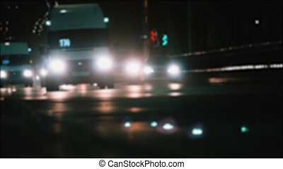 vie ville, concept, style de vie, lapse., nuit, lumière urbaine, temps, mouvement brouillé, rue, trafic, voiture, pistes