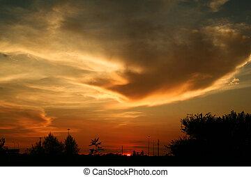 vie ville, coucher soleil