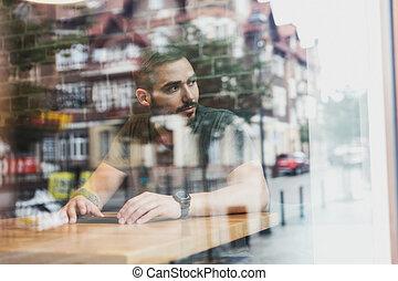 vie ville, refléter, verre., café, homme