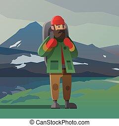 vieil homme barbe, et, sac à dos, dans, les, montagnes.