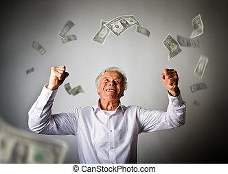 vieil homme, dans, blanc, et, tomber, dollar, billets banque