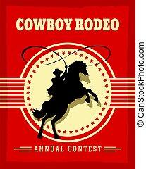 vieil ouest, cowboys, rodéo, retro, affiche