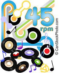 vieillards, 45, disques, musique, rocher, tr/min, rouleau