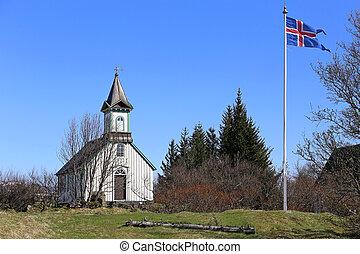 vieille église, pingvallkirkja, sur, jour ensoleillé, dans, thingvellir, islande