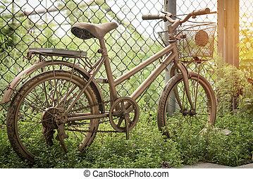 vieille bicyclette, dans, parc public, vendange, style