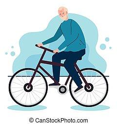 vieille bicyclette, mignon, homme, activité, loisir