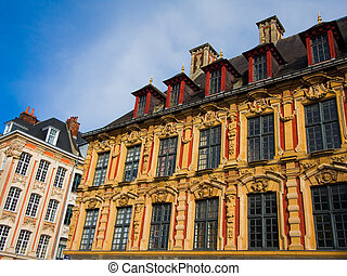 Vieille Bourse on the Place De Gaulle in Lille, France.