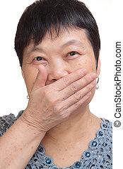 vieille femme, bouche, elle, couverture