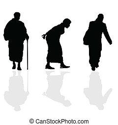 vieille femme, marche, noir, silhouette