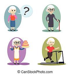 vieille femme, mettez stylique, illustration