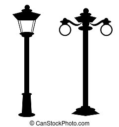 vieille mode, lampes, rue